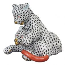 Herend Porcelain Fishnet Figurine of Lion Cubs